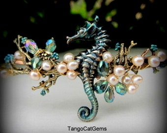 Seahorse Circlet Headpiece Freshwater Pearls Wedding Bridal  Prom special occasion hairjewelry
