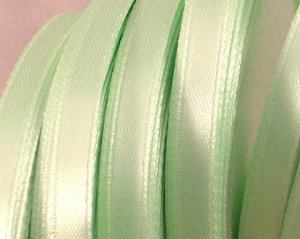 "Satin Ribbon CLOSEOUT SALE  (R67A) 1/4"" Mint Green 25 Yard Spool for Crafts Ribbon Wands DIY Wedding"