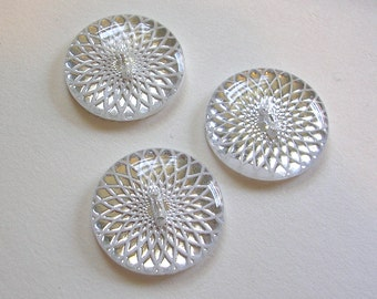 """Buttons (B74) 26mm 1"""" Diameter Silver Resin Button for Sewing Crochet Knitting"""