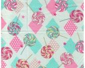 CLEARANCE 1/2 Yard Yuwa - Lollipops and Diamonds on BLUE - Polka Dot, Stars, Swirl Candy, Pink, Aqua Tan Lollipop - Japanese Import