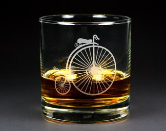 SALE - Penny Farthing Bicycle Lowball Glass - Ordinary Bike