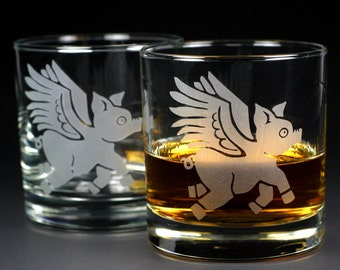 2 Flying Pig Lowball Glasses - Set of 2 - etched angel pig whiskey glass