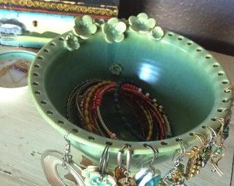 Earring Jewelry Bowl-jewelry organizer vintage green