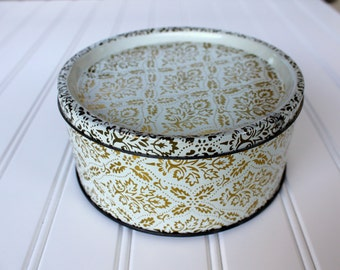 Vintage Tin - Gold Design on White