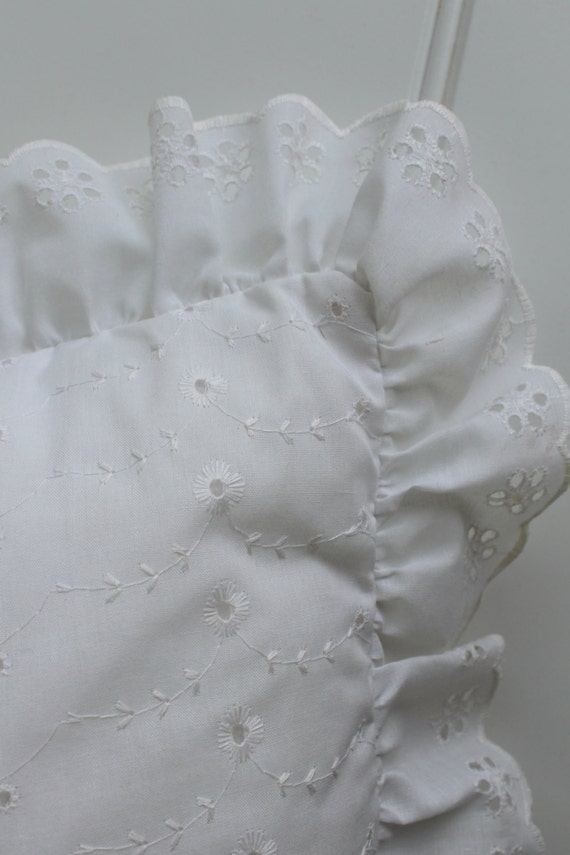 White Eyelet Pillow with Ruffle Shabby Chic by catnapcottage