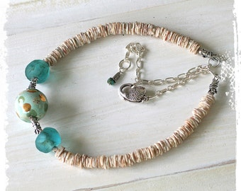 Short boho necklace choker for women, Kazuri bead necklace, Glass and shell choker necklace, Ocean inspired necklace, Adjustable necklace