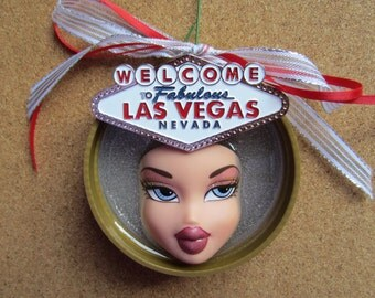 Welcome to Fabulous Las Vegas Nevada - upcycled Bratz doll ornament