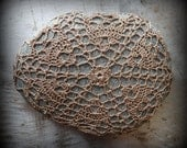 Lace Stone, Crocheted, Original, Handmade, Brown Thread, Gray Stone, Wedding, Folk Art, Monicaj