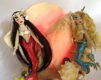 Mermaid, fantasy, habitat, conch , shell, lamp, dame darcy  Copy