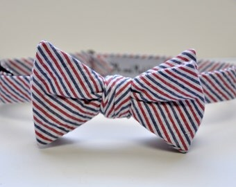 Men's Bow Tie, Seersucker Bow Tie, Red White and Blue Striped Bowtie