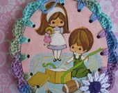 RESERVED FOR KATRINA A Present For You / Crochet Vintage Illustration Ornament / Gift Tag