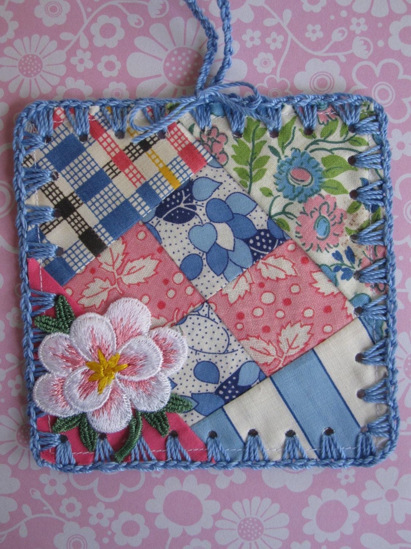 Pink and Blue Garden / Crochet Vintage Quilt Block by ShoeFlower