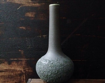 MADE TO ORDER-  1 large lab bottle vase in slate matte with cratering. emerald flashing. sara paloma pottery. modern ceramic vase.  bud vase