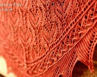 Heart on Fire Knitting Shawl Pattern in PDF