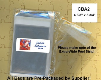 CBA2 - 100 BOPP Cello Bags 4 3/8 x 5 3/4 - A2 Card - Self Sealing - Packaging, Storage, Organizing - Amazing Qty Discount