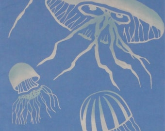 Tenugui 'Jellyfish' Fabric Cotton Japanese Fabric w/Free Insured Shipping