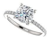 eliza ring - 2 carat forever brilliant moissanite engagement ring, diamonds, 14k white gold