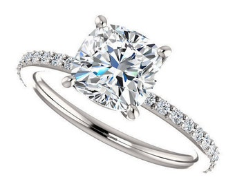 eliza ring - forever brilliant moissanite engagement ring, 1.5 carats
