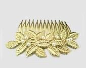 Wedding Gold Hair Comb, Bridal Leaf Headpiece, Brooch Hair Comb, Bridal Vintage Style Leaf Hair Accessories, EMMA