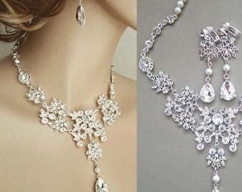 Wedding Jewelry Set Bridal Bib Necklace Earrings Set, Bridal Statement Rhinestone Pearl Necklace, Bridal Crystal Jewellery Set