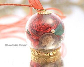 Rose Garden Dome Necklace Flowers  Romantic Shabby Dome Pendant One-of-a-Kind Assemblage Pendant