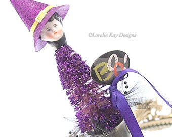 Tiny Witch Art Doll Decoration Cute Witch Doll One-of-a-Kind Bobble At Doll Halloween Decoration