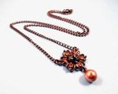 Rhinestone Pendant Necklace, Champagne Glass Rhinestone Flower and Pearl, Gunmetal Silver Necklace,  FREE Shipping U.S.