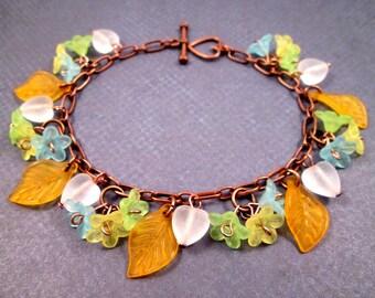 Flower Charm Bracelet, Morning Glories, Blue Green Yellow Orange and White, Copper Beaded Bracelet, FREE Shipping U.S.