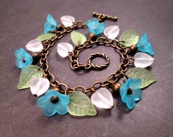 Flower Charm Bracelet, Sweetheart Bouquet, Aqua Green White and Brass Beaded Bracelet, FREE Shipping U.S.