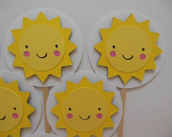 Sun Cupcake Toppers - Yellow and White - Gender Neutral - Baby Shower Decorations - Child Birthday Party Decorations - Set of 6