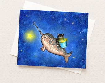 Narwhal Card - Friendship Illustrated Narwhal and Cat - Blank Inside