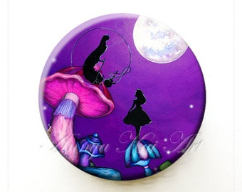 Alice in Wonderland with Caterpillar - Collectible Art - Purse Mirror with Organza Bag
