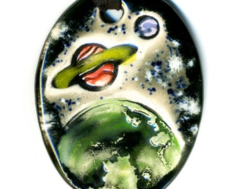 Planets in Space Ceramic Necklace in Black and Gray