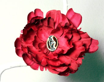 DNA Flower Hair Clip in Red