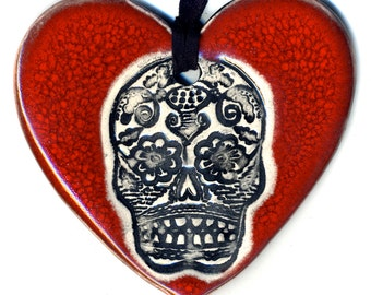 Day of the Dead Heart Necklace in Deep Red