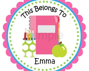 Personalized Back to School Stickers, School, This Belongs To, Open House, Children, Belongings, Back to School, ID Tags - Set of 12