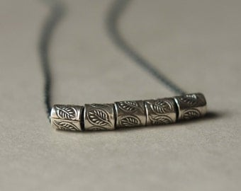 Rustic Sterling Silver Necklace, Oxidized Silver Chain Necklace, Etched Silver Beads, Silver Leaf Necklace, Leaf Jewelry, Silver Tube Beads