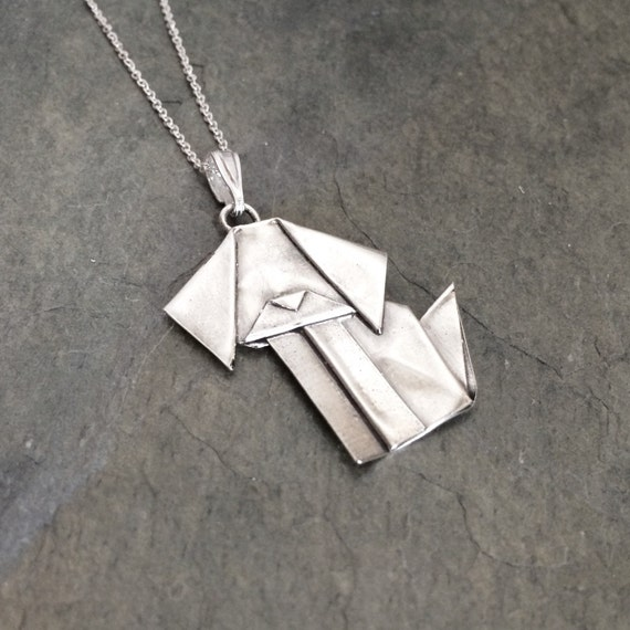 Hand Folded Silver Origami Dog Pendant - Large - Hand Folded Fine SIlver
