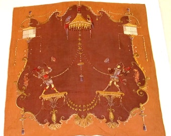 Silk scarf Androgynous Renaissance youths  playing Badminton exciting  exotic fairytale Rusty Red