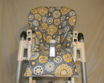 Prima Pappa Diner & More Highchair Cover  In Gray  And Yellow Print See DESCRIPTION