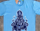Ganesh batik yoga men t-shirt eco friendly light blue hand drawn hand painted hand dyed size XS, S, M, L, XL, XXL