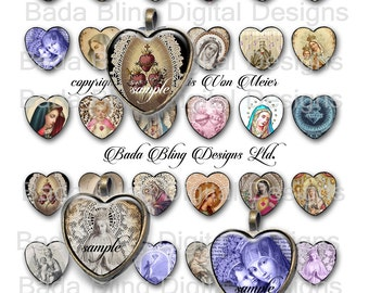25mm hearts, collage sheets for jewelry,  Antique Prayer Cards & Holy Cards, heart pendants, Holy Mother, Madonna and Child, catholic images