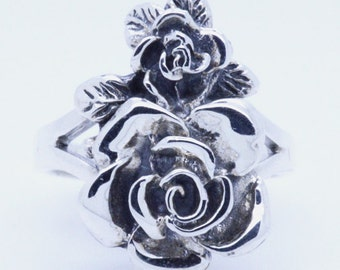 Double Rose Flowers Sterling Silver Ring size 4 5 6 7 8 9 10 11 12