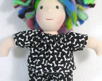 8 inch waldorf pajamas in black and white bones print for thin doll, doll clothing, waldorf doll pajamas