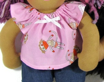 14 - 15 inch Waldorf Clothes,  Pink Doll Top and Shorts, Waldorf Doll Clothes, Handmade Cotton Doll Outfit