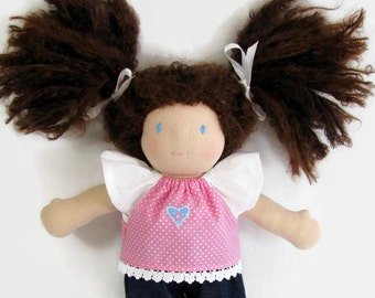 10 inch Waldorf doll clothes, pink polka dot top with white flutter sleeves and lace trim over denim pants, doll outfit in pink and blue