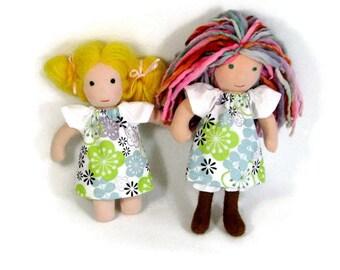 8, 9 inch Waldorf blue green doll dress, toy clothing, tiny doll dress