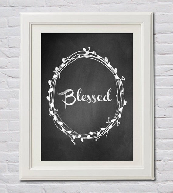 Instant Download! Blessed Laurel Wreath Chalk PDF Print in 4 Sizes (4x6, 5x7, 8x10, 11x14) Mother's Day Photo Gift