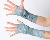 Blue floral fingerless gloves, Lagoon blue floral armwarmers, Blue Patchwork arm warmers, Long fingerless gloves