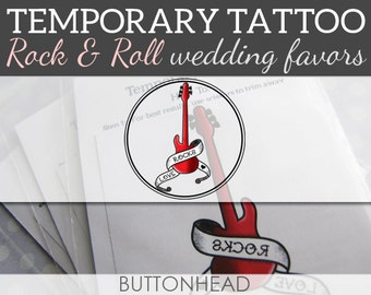 Music Rock and Roll Wedding Favors - Love Rocks - Temporary Tattoos - Rock N Roll Set of 12